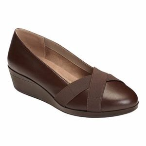 A2 BY AEROSOLES Brown Wedge Shoes, Size 7W